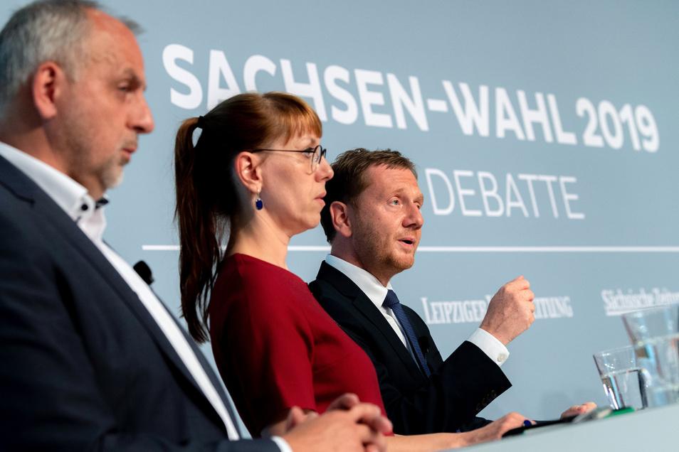 Am vergangenen Mittwoch diskutierte Gebhardt in Dresden beim Wahlforum der Spitzenkandidaten zur Landtagswahl unter anderem mit Michael Kretschmer (CDU, r)und Katja Meier, Spitzenkandidatin von Bündnis 90/Die Grünen, (M).