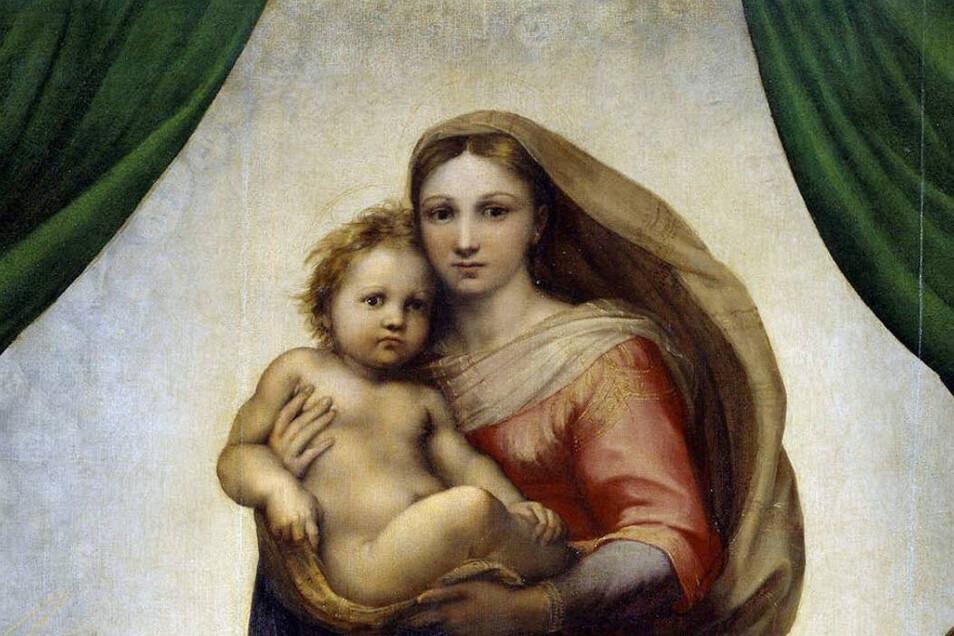 Die Sixtinische Madonna, gemalt 1512 (Ausschnitt). Am 1. März 1754 traf das Gemälde in Dresden ein.