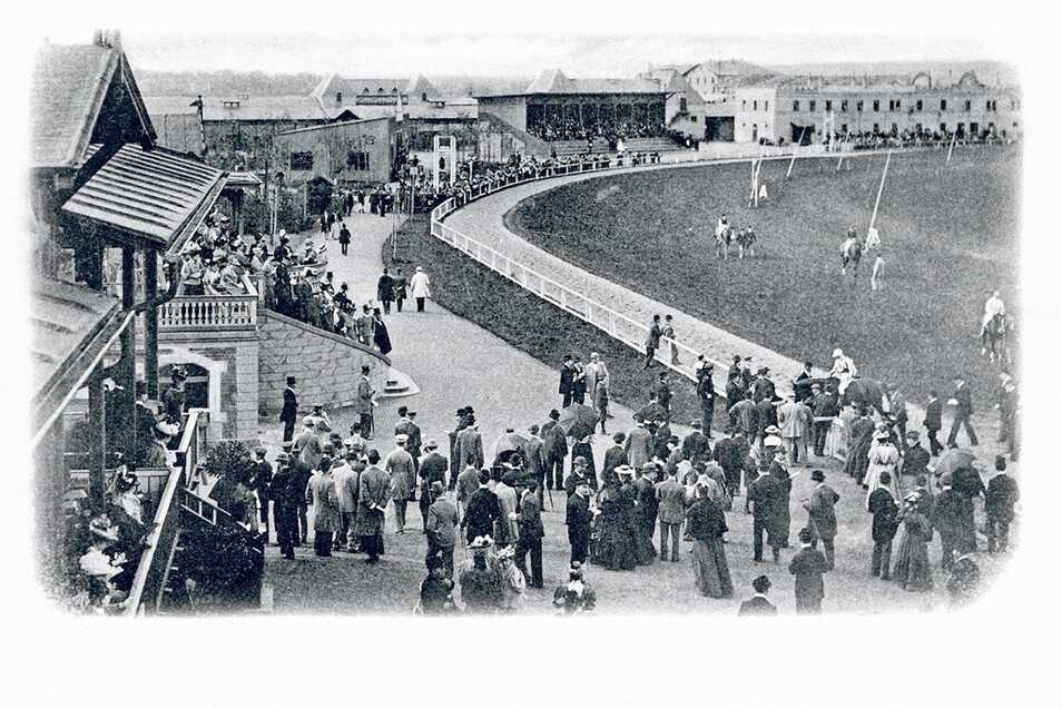 Historische Postkarte von der Galopprennbahn Dresden um 1900