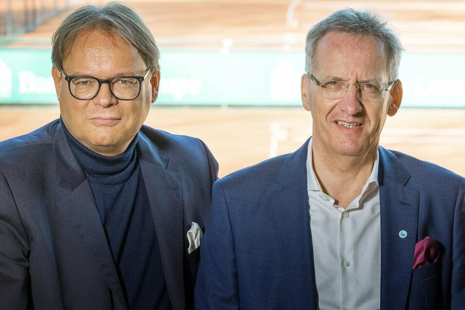 Zwei Macher des größten ostdeutschen Tennisklubs: Team-Manager Sven Grosse (links) und Vereins-Präsident Michael Stephan. Beide arbeiten übrigens hauptberuflich als Anwälte.