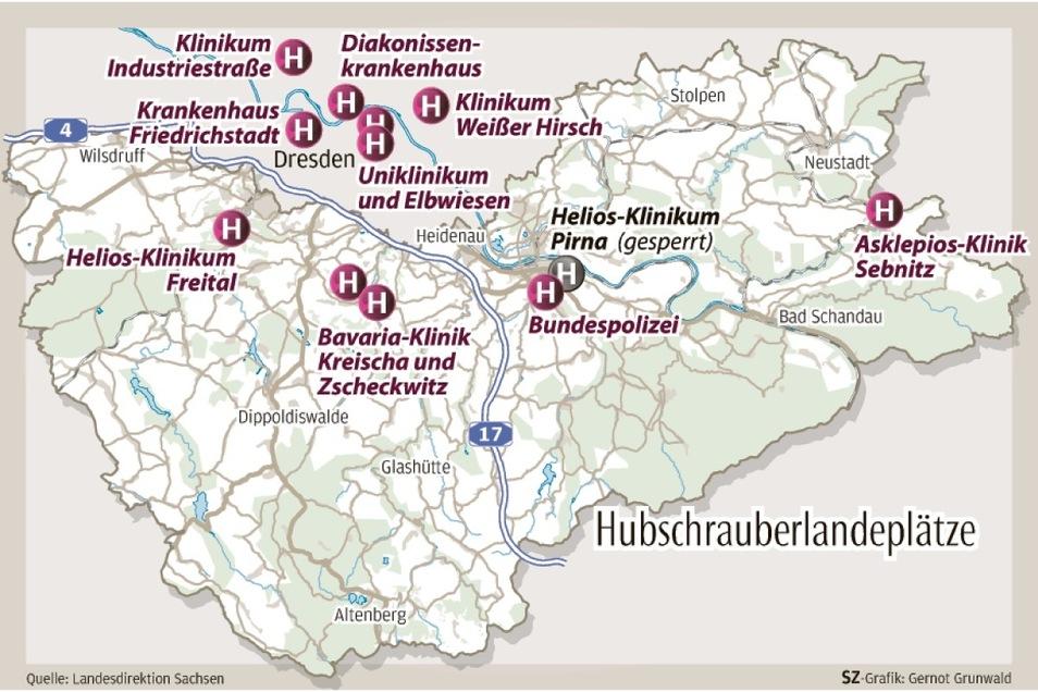 Hubschrauberlandelätze an Kliniken der Region. Maschinen mit Ziel Helios-Klinikum Pirna landen zurzeit bei der Bundespolizei.
