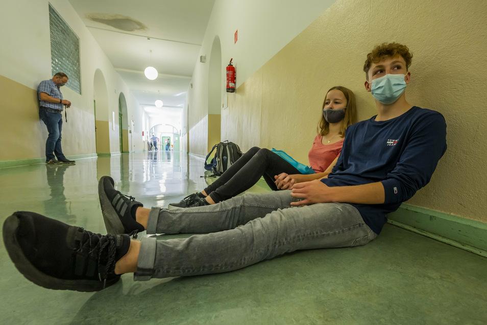 Im Schulhaus des Gymnasiums Cotta in Dresden herrscht Maskenpflicht.