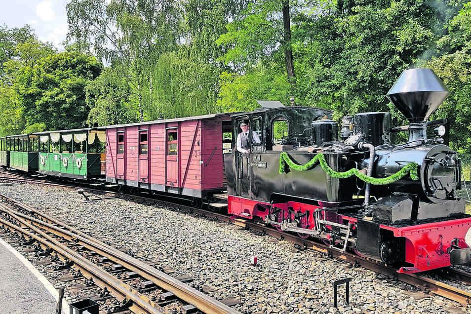 """Diana als """"Zugpferd"""" bei der Muskauer Waldeisenbahn. Seit über 20 Jahren tut sie dort wieder ihre Dienste, nachdem sie zuvor von 1978 bis 1994 in Oberoderwitz an der Bundesstraße 96 unweit der Kirche gestanden hatte."""