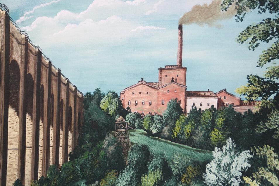 Die Dimensionen der Bahnbrücke und ihre Nähe zur Zuckerfabrik werden auf diesem Ölgemälde deutlich
