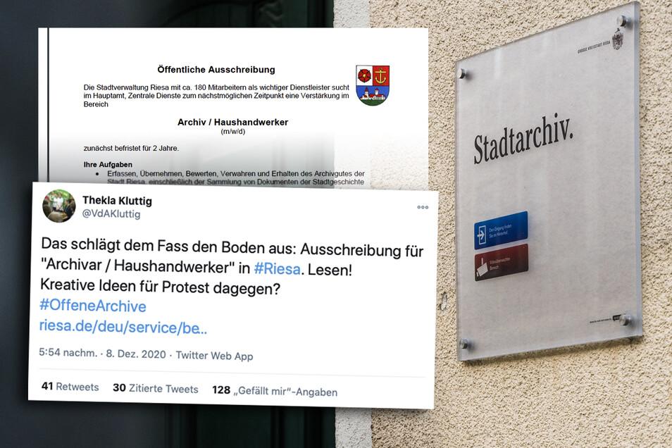 """Dieser Twitter-Kommentar über eine Stellenausschreibung der Stadt Riesa zog viele weitere empörte Reaktionen nach sich. Die Kommune sucht derzeit nach einem """"Archivar / Haushandwerker""""."""