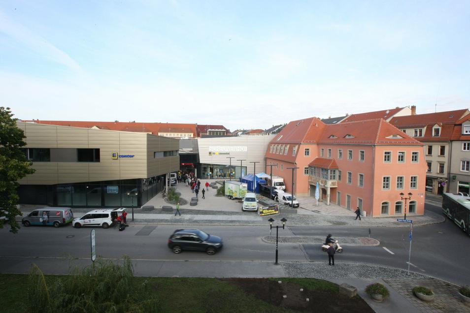 Scheunenhofcenter an der Grenze zum Dohnaischen Platz: Neue Schilder sollen in Kürze den Weg in die Altstadt weisen.