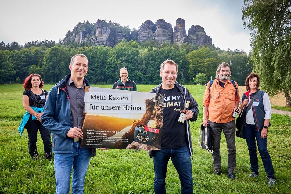 Am Pfaffenstein im August: Michaela Neuenhaus-Eckardt, Stefan Meinel, Uwe Borrmeister, Marco Domogalski, Rainer Reichstein, Micaela Lindheimer (v.l.n.r.).