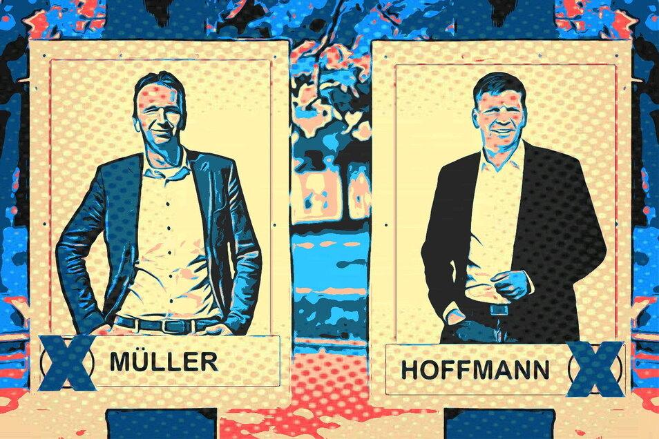 So einheitlich wie auf dieser SZ-Visualisierung werden die Wahlplakate von Riesas OB-Kandidaten Marco Müller (CDU, l.) und Gunnar Hoffmann (parteilos, r.) sicher nicht gestaltet sein. Auch ihre Anzahl wird sich wohl deutlich unterscheiden.