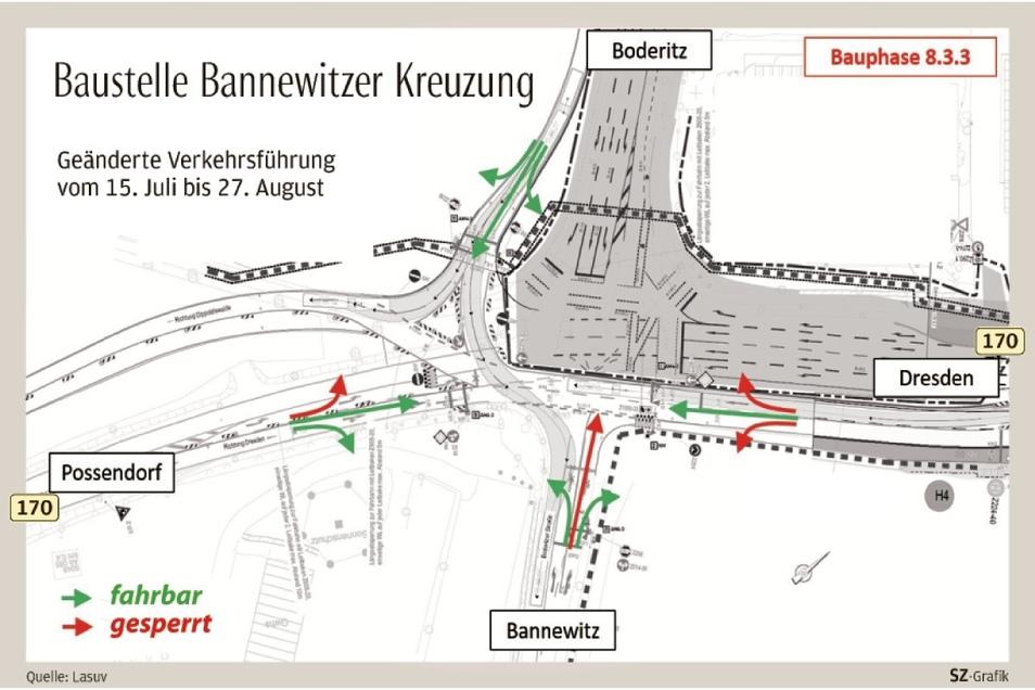 Auf diese Ausschilderungen müssen Autofahrer an der Kreuzung B 170/Boderitzer Straße jetzt achten.