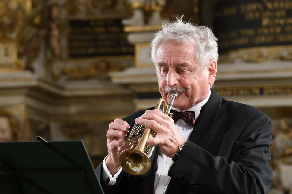 Ludwig Güttler im vergangenen Jahr bei einem Konzert in der Marienkirche in Pirna.