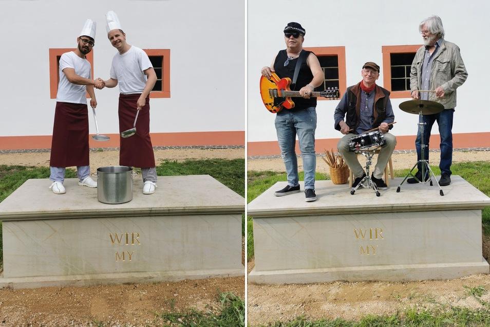 """Alem Seighani und Tobias Rönsch arbeiten seit Jahren sehr gut zusammen und stehen gemeinsam auf dem """"Wir-Denkmal"""" (links). Die Görlitzer Musikgruppe """"Bierblumen-Band"""" hat sich ebenfalls auf das Denkmal gestellt (rechts)."""