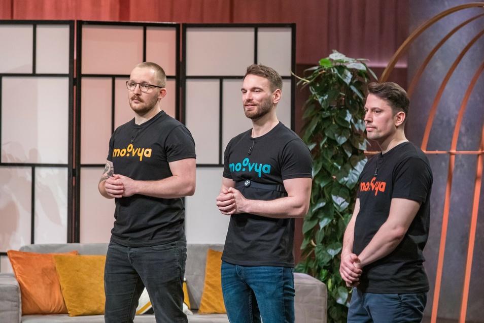 """Richard Schütze, Etienne Petermann und Jakob Wowy (v.l.) von Evomo konnten die """"Löwen"""" vom Fernsehsender Vox nicht überzeugen."""