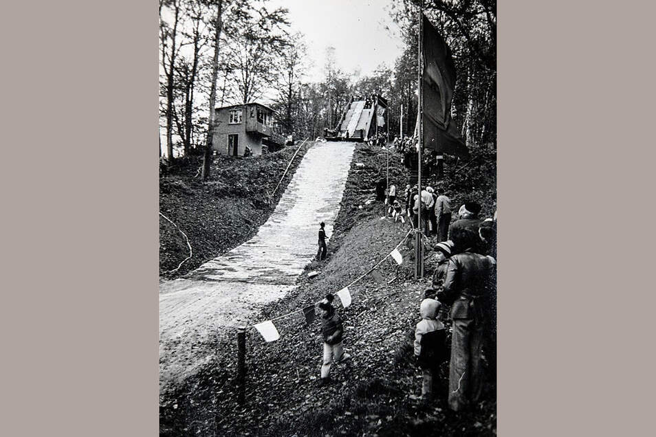 Auf der Sprungschanze Hennersdorf fanden auch Mattenspringen statt.
