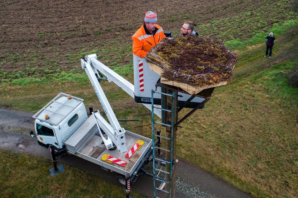 Frank Zieger vom Harthaer Bauhof und Jens Wagner vom Natur- und Freizeitzentrum Töpelwinkel haben die Plattform auf dem Mast montiert. Reisigbündel sollen die Attraktivität der Nisthilfe für den Storch erhöhen.