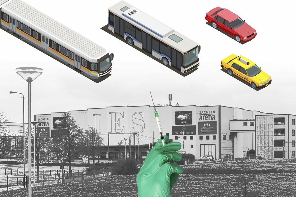 Regionalzug, Bus, Taxi – oder der eigene Pkw? Es gibt viele Wege, um zum Impfzentrum für den Landkreis Meißen in der Riesaer Sachsenarena zu kommen. Nicht jeder ist günstig, und nicht jeder ist schnell.