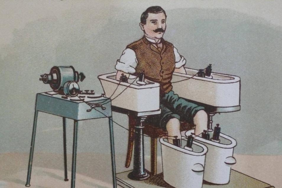 """Therapie für Furchtlose: Friedrich Eduard Bilz entwickelte das Vierzellenbad als elektrische Behandlung. Eine Darstellung aus seinem Buch """"Das neue Naturheilverfahren""""."""