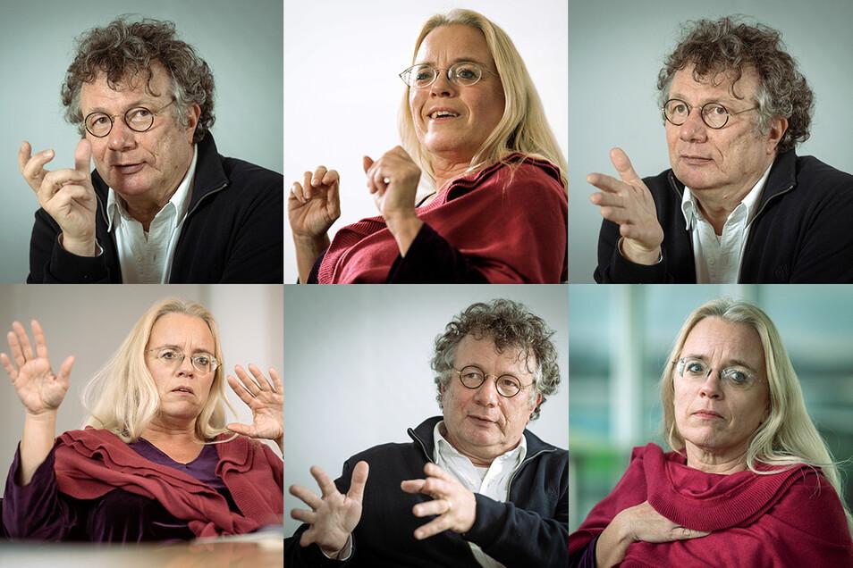 Buchhändlerin Susanne Dagen, 48, und Schriftsteller Ingo Schulze, 57, beim Gespräch mit Sächsische.de.