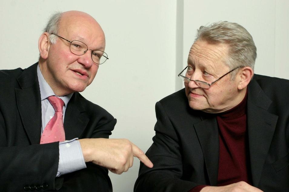 Walter Momper (l.) und Günter Schabowski im Tagesspiegel-Interview aus dem Jahr 2004.