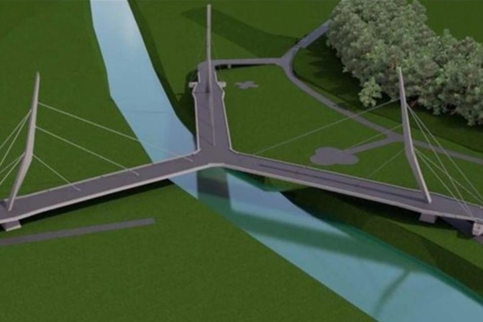 So sollte sie nach den letzten Entwürfen aussehen, die Dreiländer-Brücke bei Hartau.