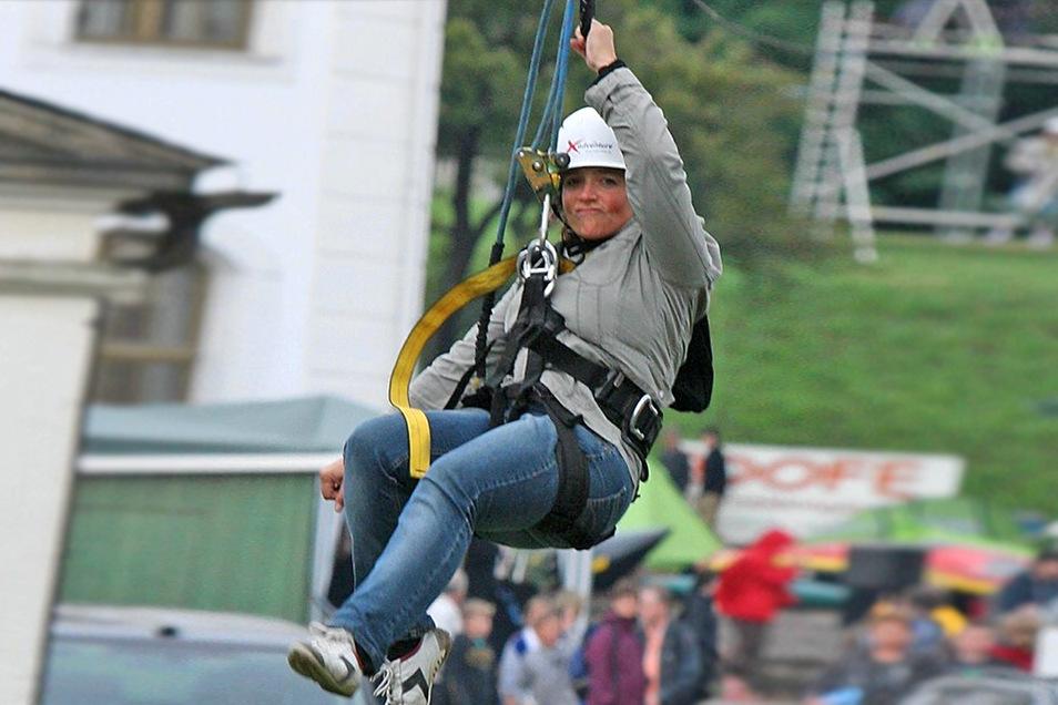Mit einer Seilrutsche, die dieser ähnelt, können Besucher eventuell bald den Neukircher Valtenberg hinunter gleiten.