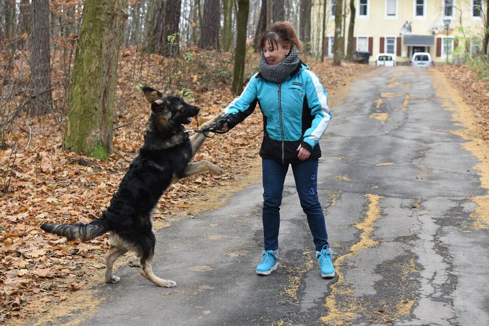 Regina Barthel-Marr ist die Vorsitzende vom Tierschutzverein Freital, hier beim Spiel mit einem Fundhund. Die Schmuggelwelpen kommen erst einmal in Quarantäne.