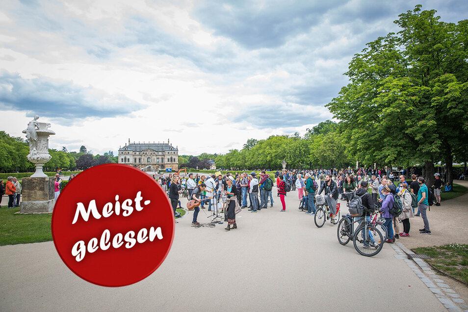 Anti-Corona Demo im Großen Garten. Foto: Sven Ellger