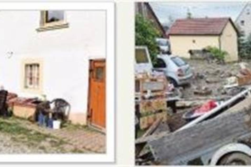 Eine Idylle ist der Hof der Trumplermühle in Reichstädt, wenn man heute (li.) vorbeifährt. Vor fünf Jahren (re.) hatte hier der Dorfbach das Haus überschwemmt und auf dem Grundstück ein Chaos angerichtet.