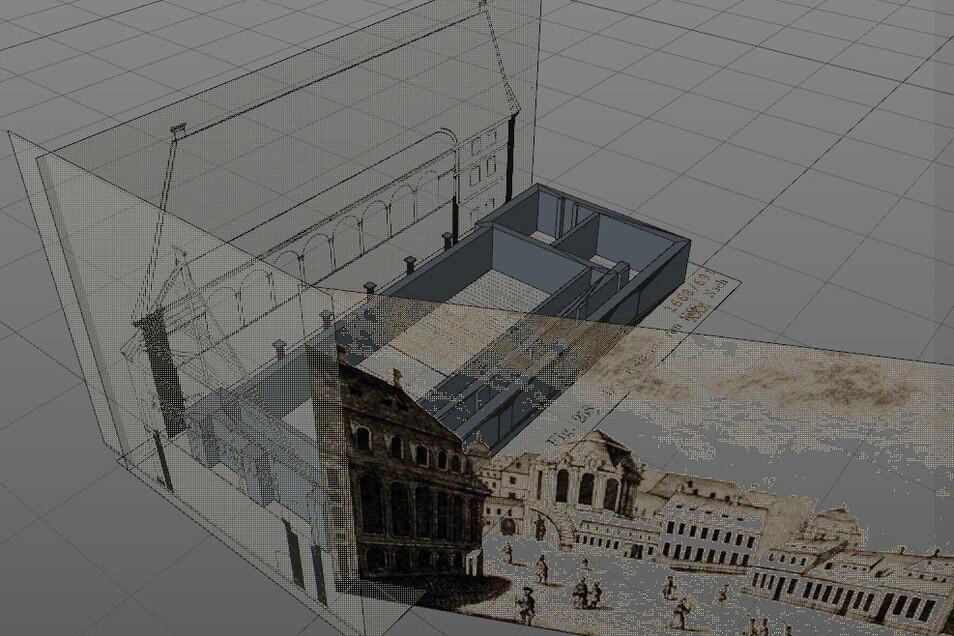 Mit Informationen aus historischen Gemälden, wie hier zum Ballhaus, fütterten die Forscher ihre 3D-Modellierungsprogramm am Computer.