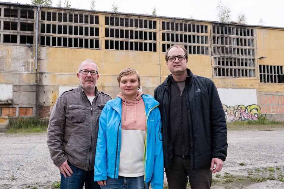 Sie wollen das Alte Heizwerk an der Fichtestraße in Szene setzen – mit Filmszenen: Michael Dahmcke, Franziska Böhm und Daniel Breutmann.