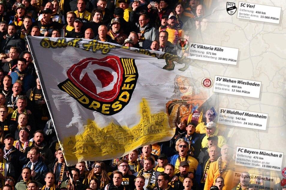 Den Dresdner Fans stehen weite Anreisen zu den anderen Drittligisten bevor - sofern Zuschauer trotz Corona wieder ins Stadion dürfen.