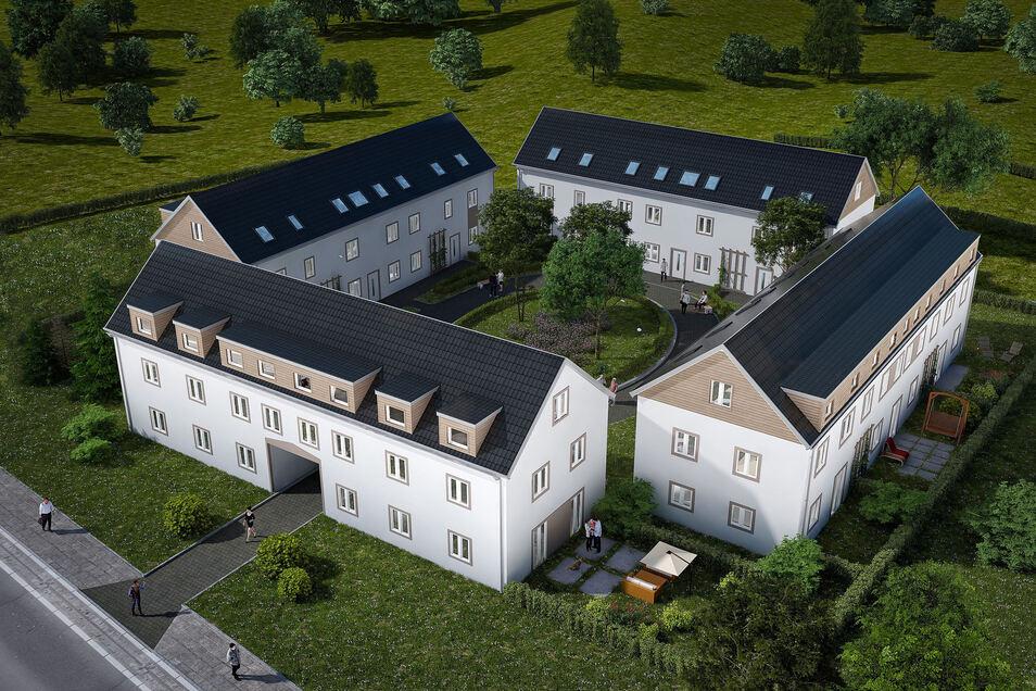 Das Dresdner Bauunternehmen VSC GmbH baut kurz vor der Stadtgrenze von Radebeul an der Meißner Straße vier Gebäude, die zu einem Vierseithof angeordnet werden – in Anlehnung an den alten Hof, der vorher dort stand.