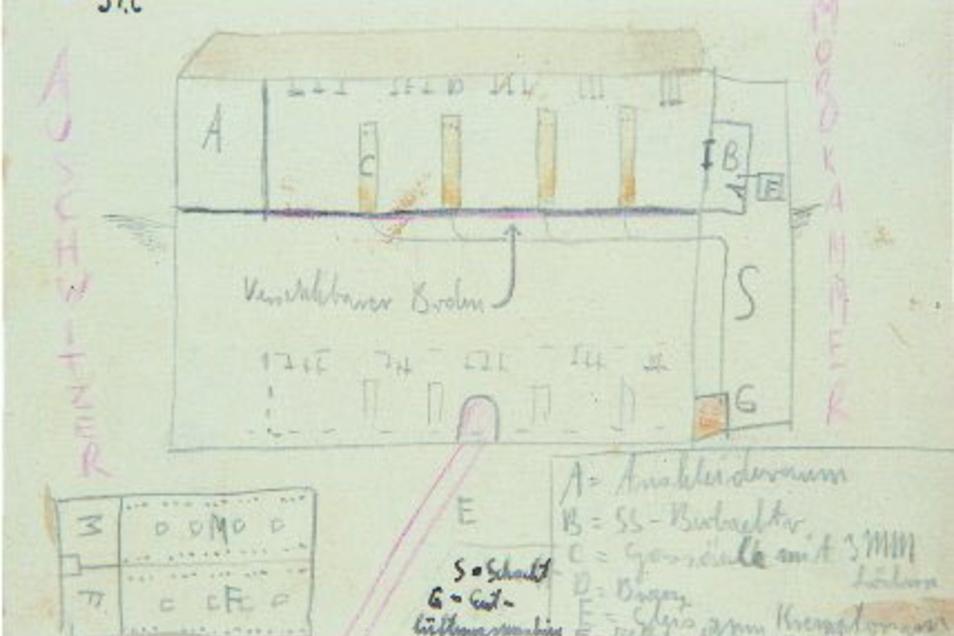 Die Zeichnungen – hier von einer Gaskammer in Auschwitz – machte Thomas Geve in seiner Gefangenschaft.