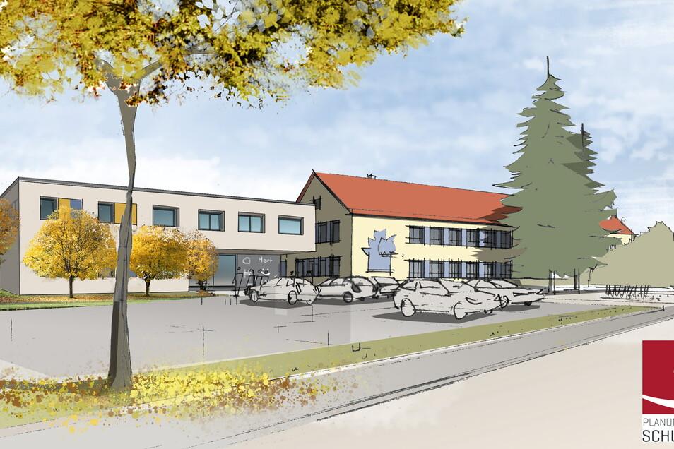 So soll der Ponickauer Kindercampus aussehen. Das Hortgebäude (links) wird an die Grundschule angebaut. Die Inbetriebnahme ist für 2022 geplant.