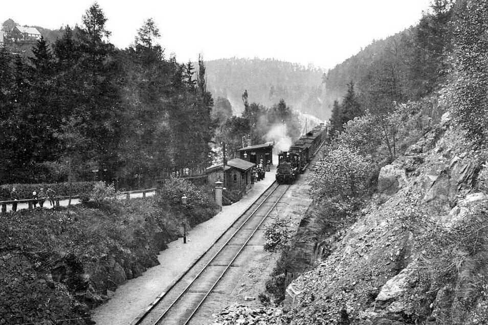 Ankunft eines Zuges am Haltepunkt Rohnau (Trzciniec Zgorzelecki) im Jahr 1907. Nach dem Zweiten Weltkrieg wurden die Gebäude und Anlagen geplündert und verfielen. So ist die früher von Rosenthalern genutzte Station heute kaum noch als solche erkennen.