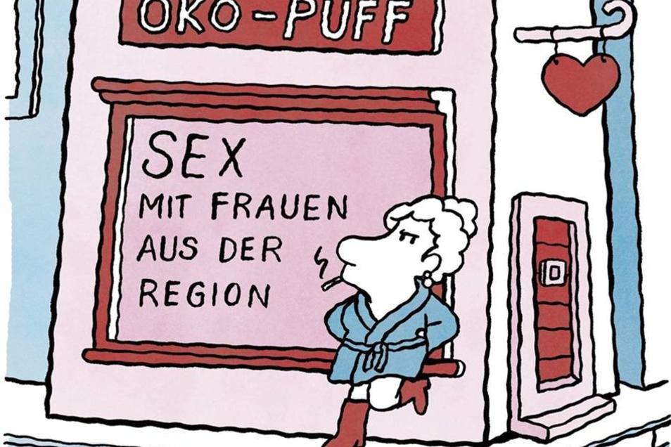 """Karikaturenschau endet  Dresden.Noch bis zum Sonntag ist die Karikaturenausstellung """"Wir sind ein Witz!"""" im Dresdner Haus der Presse zu sehen. Die Karikatur """"Öko-Puff"""" von Lilli Bravo – eine sehr originelle und witzige Auslegung des Mottos """"Wir sind ein Witz!"""" – ist gerade zum Liebling der Facebook-Fans des Karikaturenpreises gewählt worden.  Freitag bis Sonntag 10 bis 18 Uhr, im Haus der Presse und der Galerie Komische Meister in Dresden  www.deutscherkarikaturenpreis.de"""