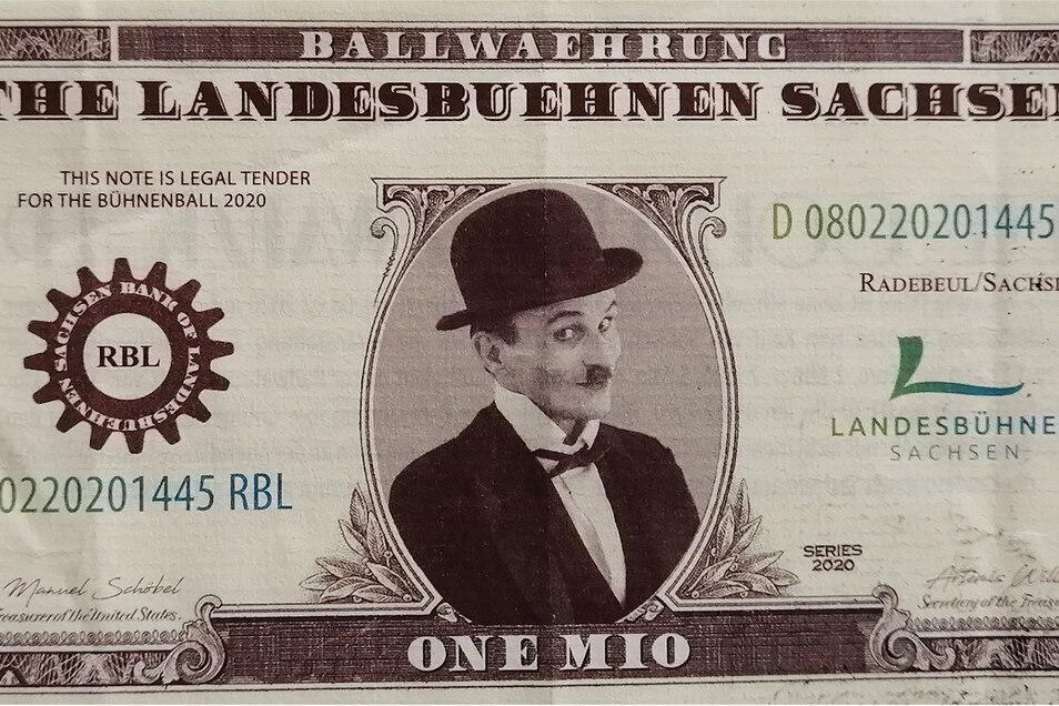 Dieses originelle Ball-Zahlungsmittel hat man sich an den Landesbühnen auch ausgedacht - mit dem Bild des Charly-Chaplin-Darstellers.