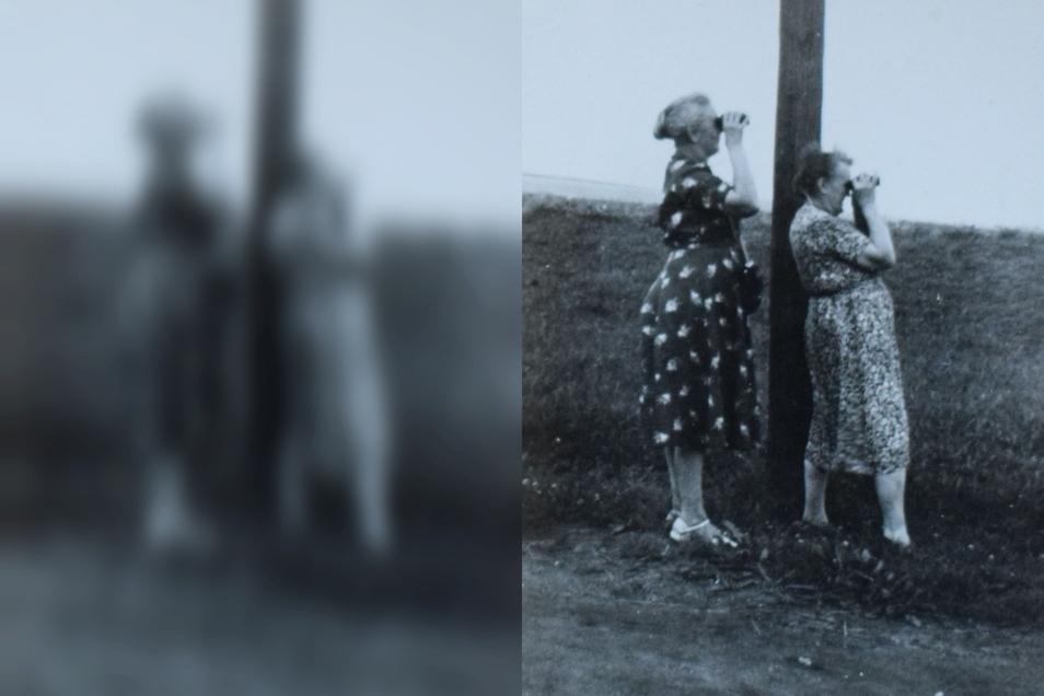 Nach der Vertreibung aus dem Zittauer Zipfel war den meisten Menschen der Weg in die Heimat versperrt. Es blieb der Blick aus der Ferne. Die Aufnahme zeigt Lina Jähne und eine Frau Weder Ende der 1950er Jahre.