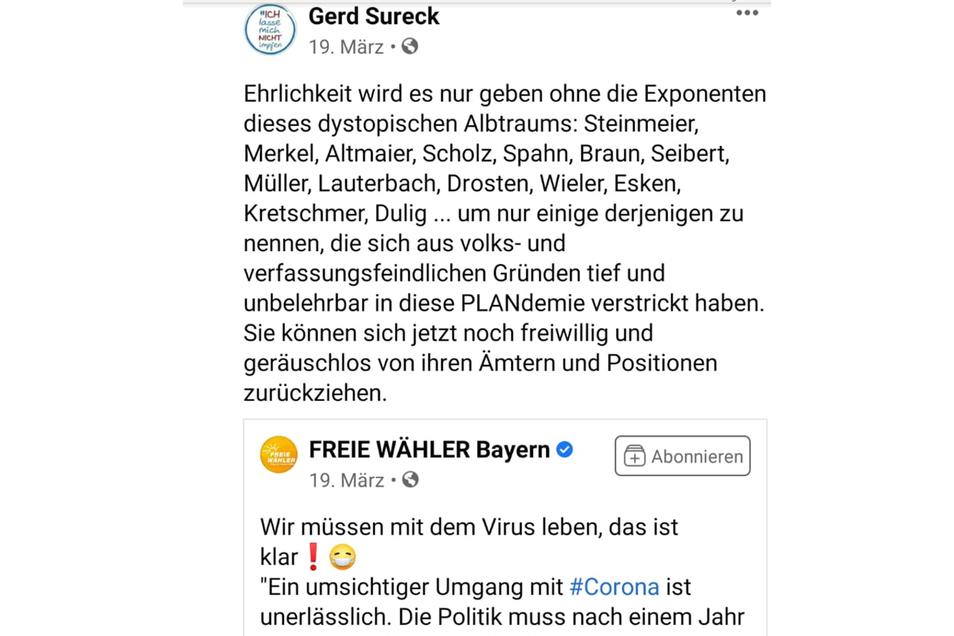 """In seiner Erklärung wünscht der Justiziar Sachsens Ministerpräsidenten Michael Kretschmer (CDU) """"eine glückliche Hand"""", auf Facebook ist er für ihn """"volks- und verfassungsfeindlich""""."""