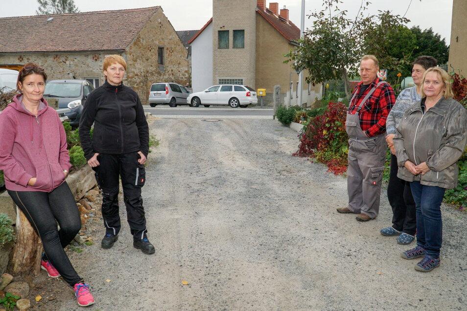 Agnes Mittasch, Kathrin Brandt, Rainer und Christine Hupka sowie Gisela Reusner (v.l.) wohnen an der Straße Am Steigerturm in Jenkwitz. Die steht seit der Erneuerung der Ortsdurchfahrt regelmäßig unter Wasser. Die Gemeinde will das jetzt ändern.