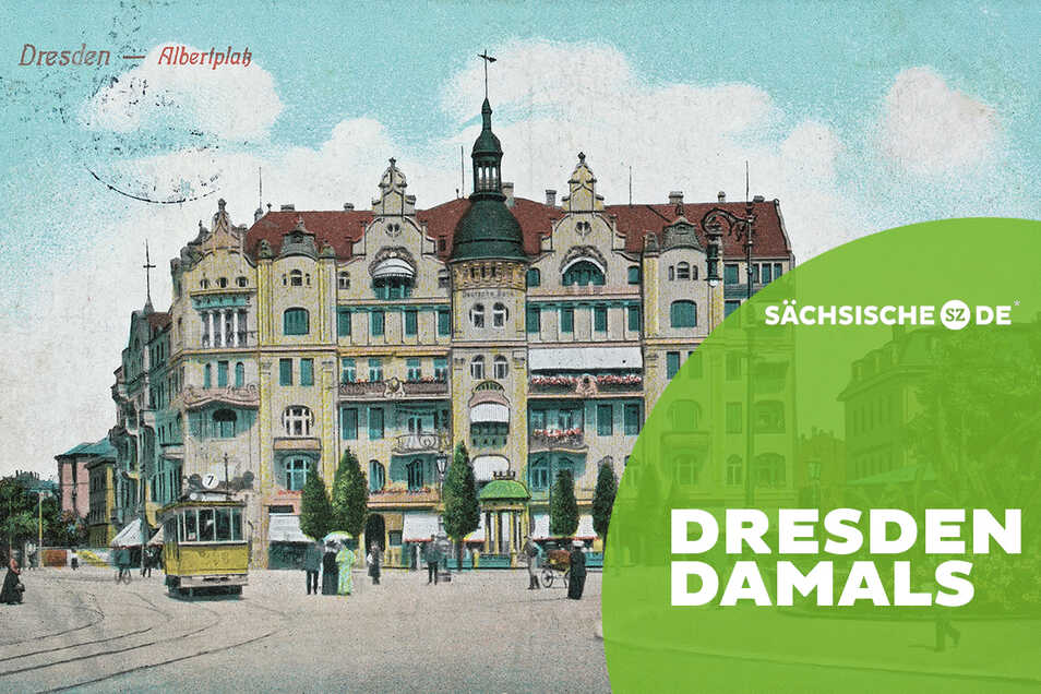 Mündung für elf Straßen: Der Dresdner Albertplatz um 1910.