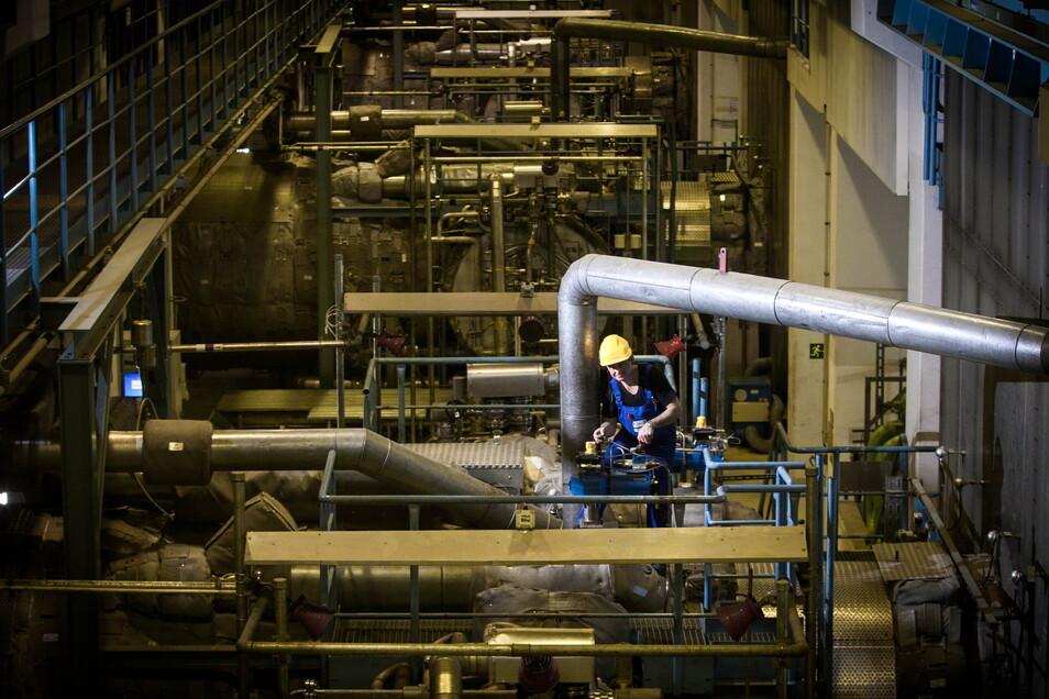 Die Gasturbinen im Heizkraftwerk Nossener Brücke werden in der warmen Jahreszeit regelmäßig überprüft und falls nötig instandgesetzt.