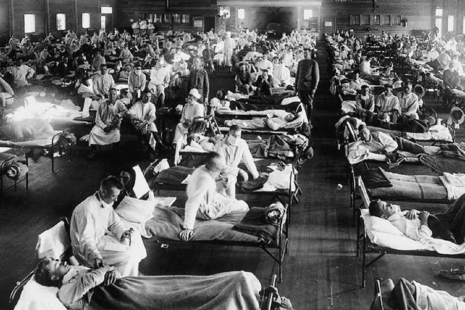 In einem Hospital nahe Fort Riley im US-Bundesstaat Kansas – von hier gelangte die Grippe nach Europa.