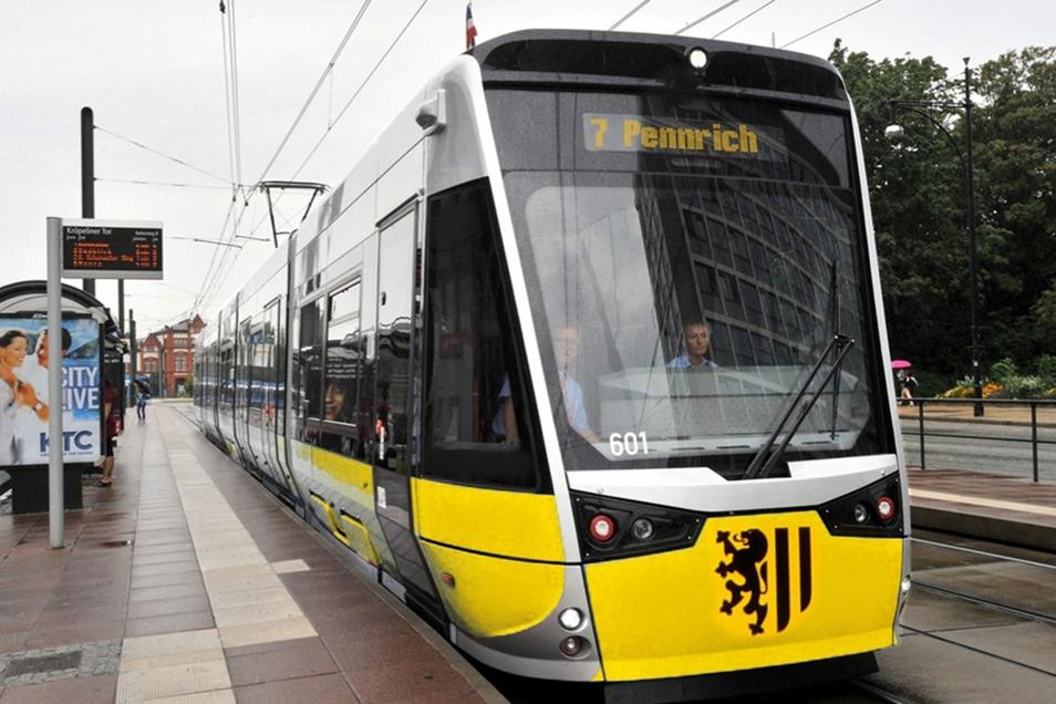 So könnten künftig die neuen DVB-Bahnen aussehen, wenn sich die Dresdner Verkehrsbetriebe für den gleichen Hersteller wie in Rostock entscheiden.