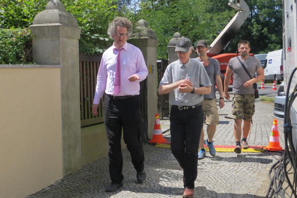 Regisseur Florian Henckel von Donnersmarck mit seiner Crew in Görlitz. Er sah sich auch das Schlesische Museum an - wo es auch um Vorfahren seiner Familie geht.