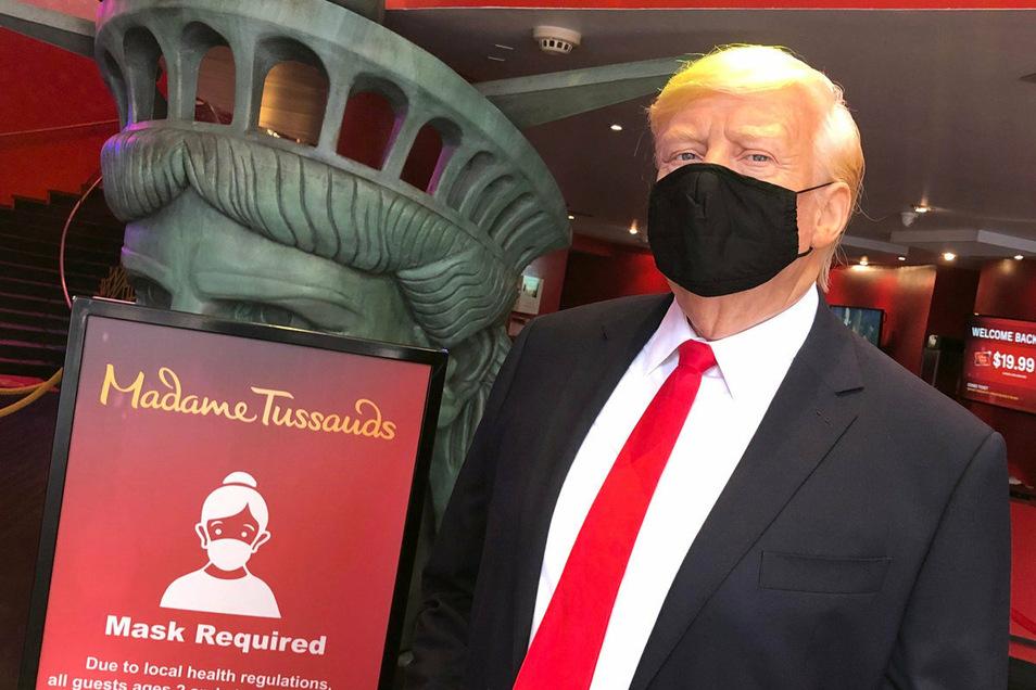 Zumindest die Wachsfigur von US-Präsident Donald Trump trägt im nach der Corona-Pause wiedereröffneten Museum Madame Tussauds in New York einen Mundschutz.