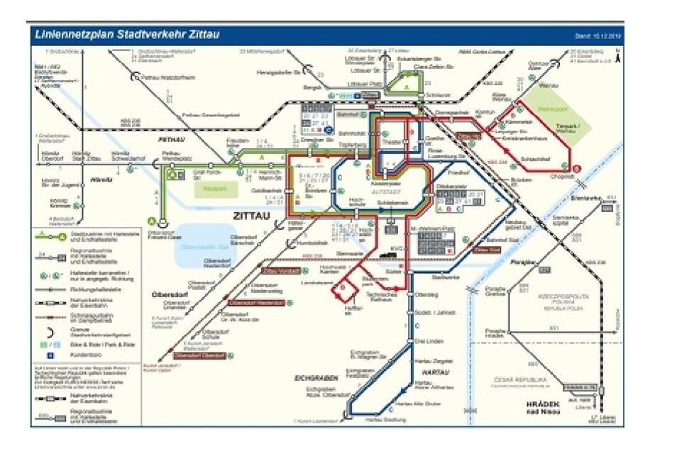 Das ist der aktuell gültige Netzplan für den Stadtverkehr Zittau.