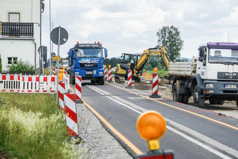 In Rammenau wird an der Ortsdurchfahrt gebaut. Das ist für die Anwohner belastend.