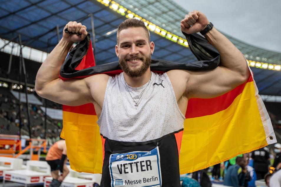 Startet für den Deutschen Leichtathletik-Verband, den Sieger der Potenzialanalyse –, enttäuschte aber bei Olympia: Speerwerfer Johannes Vetter, hier nach seinem Istaf-Sieg am Sonntag vor einer Woche.