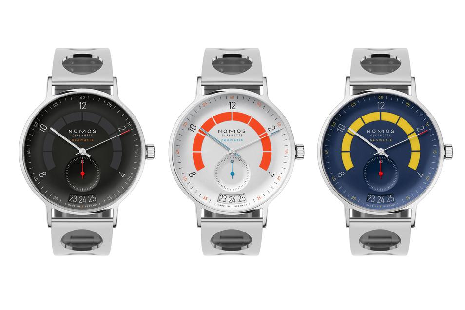 Autobahndreieck: A9, A3, A7 (v. l.) heißen die Sondermodelle des Uhrenherstellers Nomos Glashütte. Alle drei sind Lieblingsautobahnen von Designer Werner Aisslinger. Anlässlich von 175 Jahren Glashütter Uhrmacherei gibt es die Uhren limitiert auf je 175 S