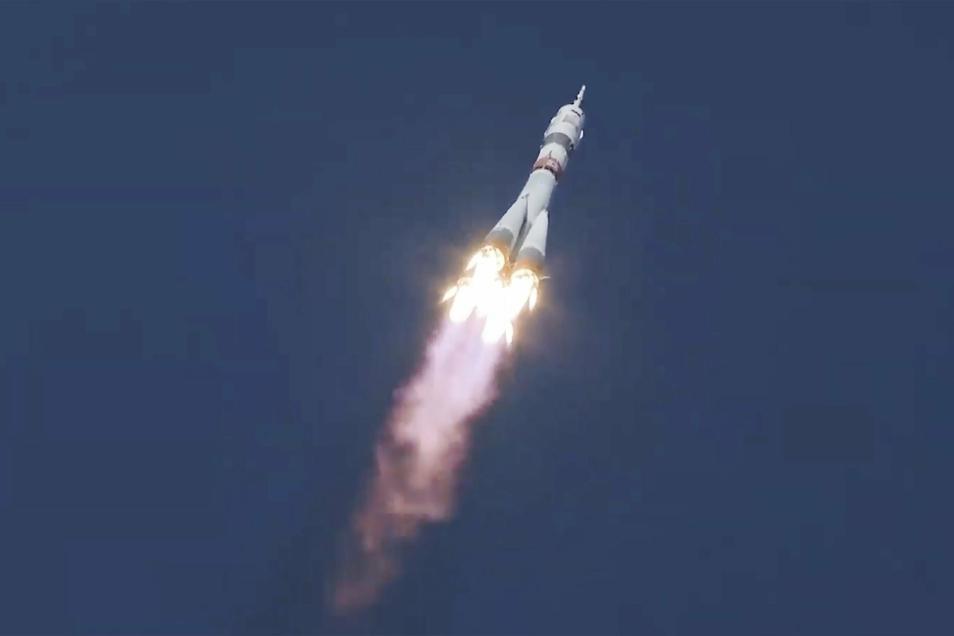 Die Sojus-Rakete startete vom Weltraumbahnhof Baikonur